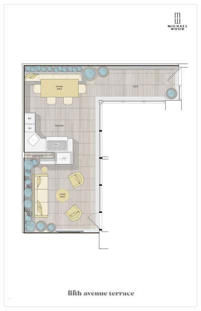 Contemporary Patio and Deck. 5TH AVENUE TERRACE by Michael Wood & Co..