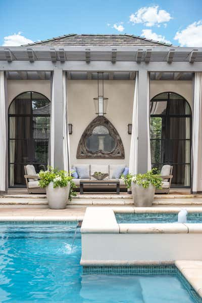 Hollywood Regency Patio and Deck. The Art of Home by Mohon Interiors.