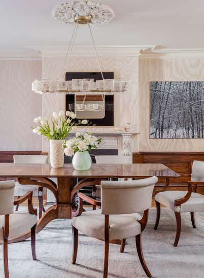 Contemporary Family Home Dining Room. West Brookline Brownstone by Elms Interior Design.