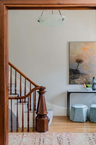 Contemporary Family Home Entry and Hall. West Brookline Brownstone by Elms Interior Design.