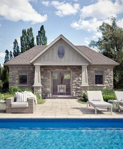 Beach Style Exterior. Prettiest Pool House by Fontana & Dames.