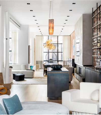 Industrial Living Room. Townhouse in New York City by Ychelle Interior Design.