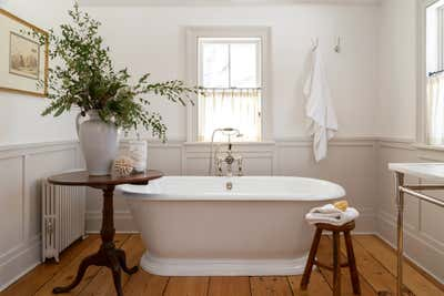 Country House Bathroom. Pound Ridge Farmhouse by White Arrow.