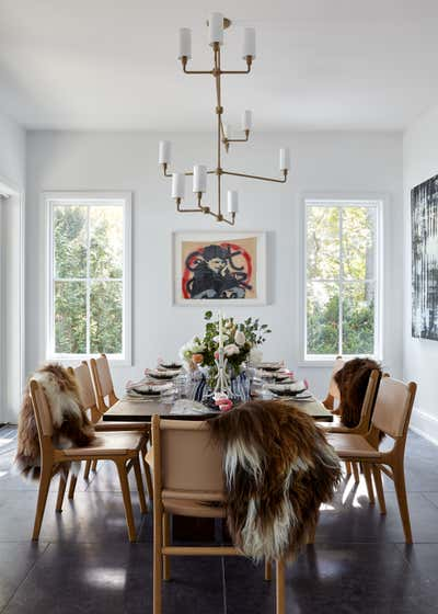 Contemporary Beach House Dining Room. Waterfront Sag Harbor Home by Katch Interiors.