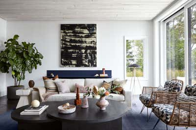 Beach Style Living Room. Waterfront Sag Harbor Home by Katch Interiors.