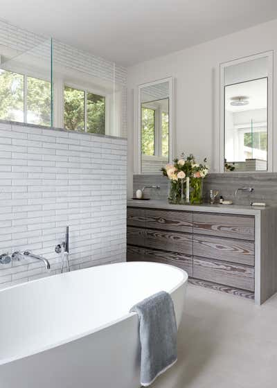 Contemporary Beach House Bathroom. Waterfront Sag Harbor Home by Katch Interiors.