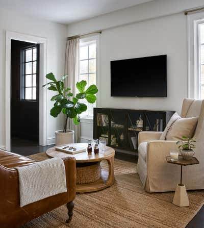 Farmhouse Living Room. English Cottage Remodel by ReDesign Home LLC.