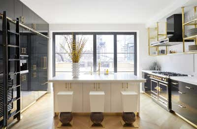 Hollywood Regency Kitchen. Park Slope Townhouse  by The Brooklyn Home Co..