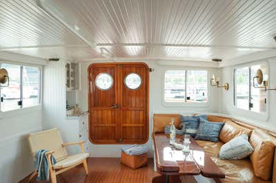 Beach Style Living Room. Lucy the Tugboat by The Brooklyn Home Co..