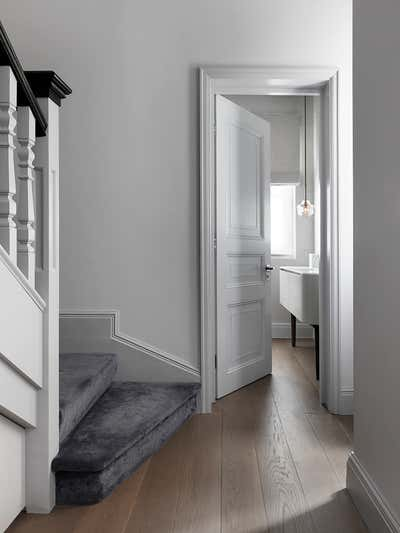 Mid-Century Modern Entry and Hall. Chelsea Townhouse by Woolf Interior Architecture & Design.