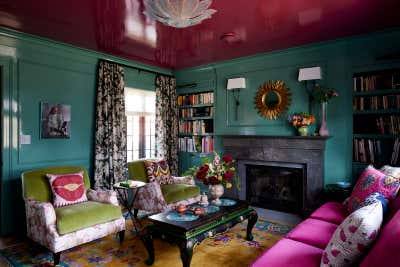 Bohemian Living Room. Colorful Greenwich Interior Design  by Kati Curtis Design.