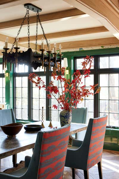 Preppy Dining Room. Colorful Greenwich Interior Design  by Kati Curtis Design.