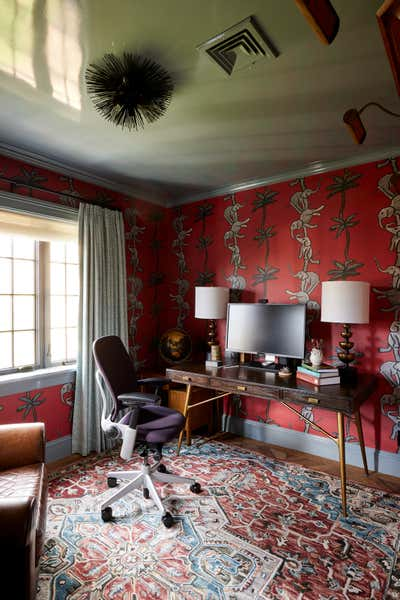 Preppy Office and Study. Colorful Greenwich Interior Design  by Kati Curtis Design.