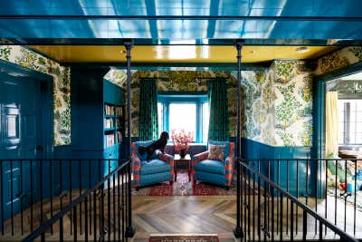 Preppy Entry and Hall. Colorful Greenwich Interior Design  by Kati Curtis Design.