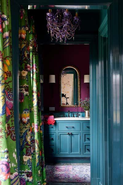 Preppy Bathroom. Colorful Greenwich Interior Design  by Kati Curtis Design.