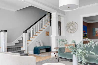 Transitional Entry and Hall. Grove Avenue by Samantha Heyl Studio.