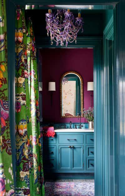 Bohemian Bathroom. Colorful Brookline Interior Design  by Kati Curtis Design.