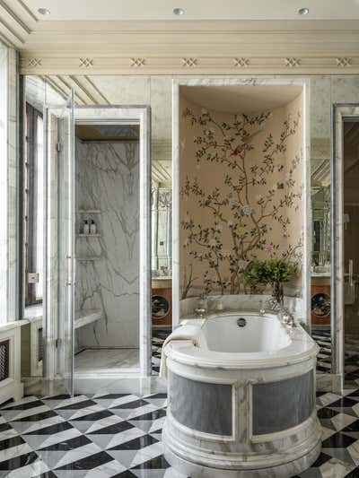 British Colonial Bathroom. Knightsbridge, Moscow by Irakli Zaria Interiors.