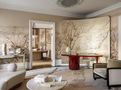 Mid-Century Modern Living Room. Showroom de Gournay by Irakli Zaria Interiors.