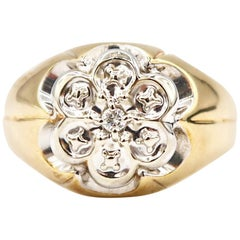 Traditional 6 Petals Men's Ring Diamond Yellow Gold and White Gold