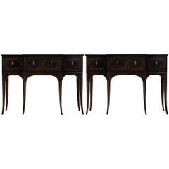 Traditional American Mahogany Inlaid Console Tables