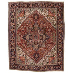 Traditional Antique Persian Heriz Rug with English Country Style Manor House