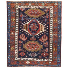 Traditional Antique Persian Square Navy Blue Heriz Rug