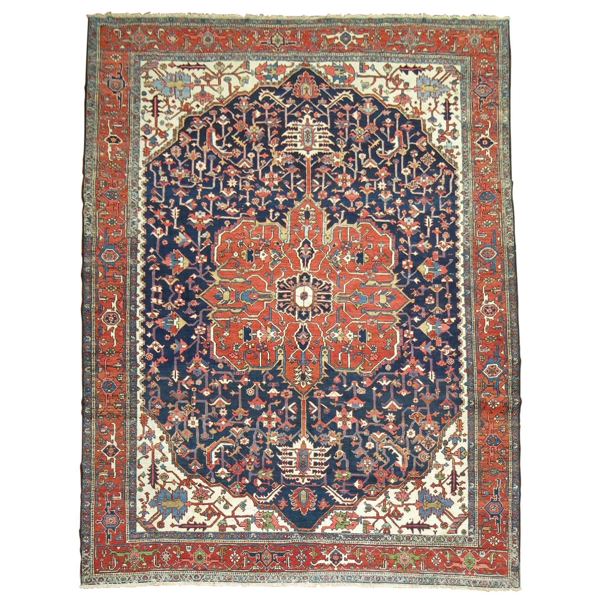Traditional Antique Persian Square Navy Geometric Heriz Rug