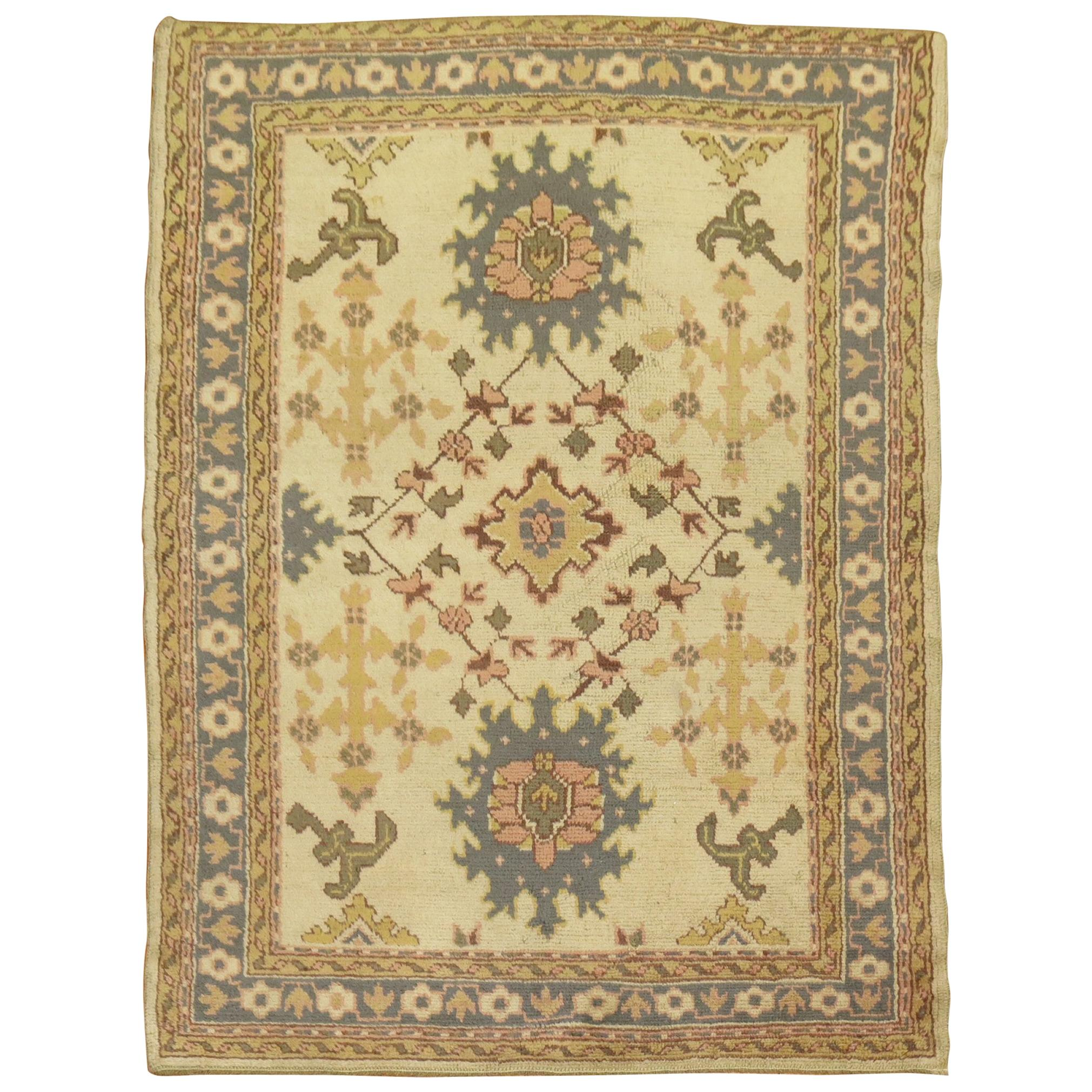 Traditional Antique Turkish Oushak Rug