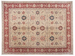 Traditional Area Rug with Red Border