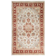 Traditional Area Rugs, Indian Carpet Cream Rug, Floor Rugs for Sale Red Border