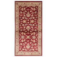 Traditional Area Rugs, Indian Carpet Red Rug, Floor Rugs for Sale Gold Border