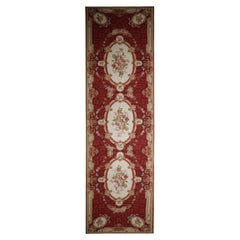 Traditional Aubusson Carpet Red Needlepoint Runner Handmade Floral Rug