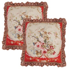 Traditional Aubusson Cushion Cover Handmade Unique Red Pillow Case
