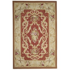 Traditional Aubusson Style Rug Area Carpet Handwoven Wool Needlepoint