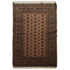 Traditional Bokhara Vintage Rug, Handmade Carpet Wool Rug for Bedroom