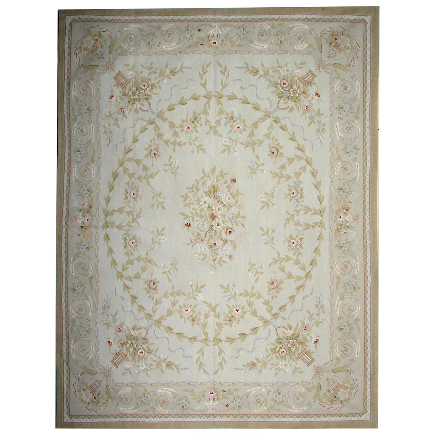 Traditional Carpet Aubusson Style Area Rug Handwoven Wool Needlepoint