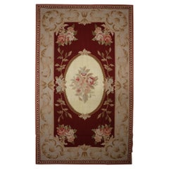 Traditional Carpet Deep Red Wool Needlepoint Handwoven Floral Area Rug