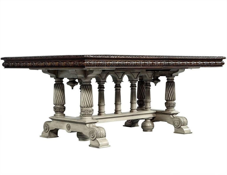 Traditional Carved Flame Mahogany Dining Table For Sale 5