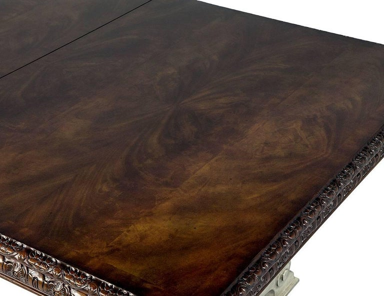 Traditional Carved Flame Mahogany Dining Table For Sale 6
