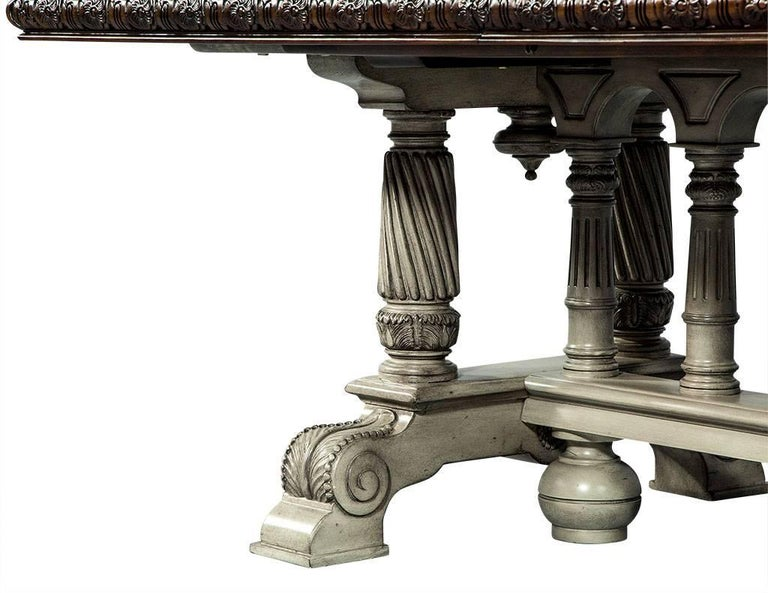 Traditional Carved Flame Mahogany Dining Table For Sale 7