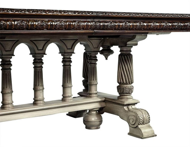 Traditional Carved Flame Mahogany Dining Table For Sale 10