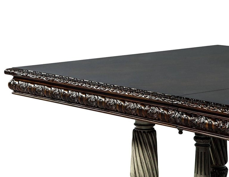 Traditional Carved Flame Mahogany Dining Table For Sale 11