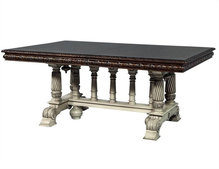 Tudor Traditional Carved Flame Mahogany Dining Table For Sale