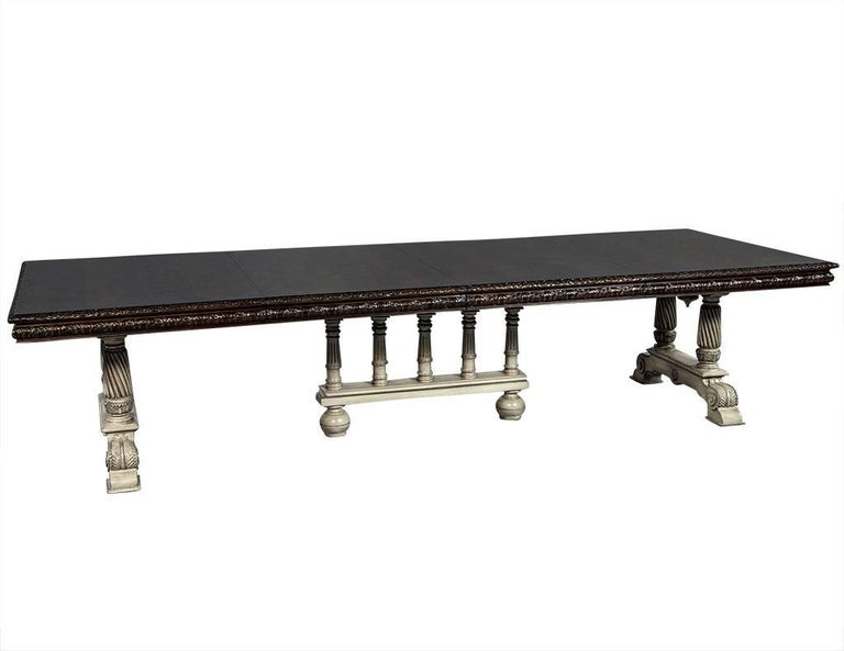 Traditional Carved Flame Mahogany Dining Table For Sale 3