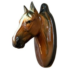 Traditional Ceramic Brown and White Horse Hanging Wall Planter or Vase