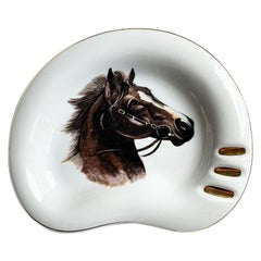 Traditional Ceramic Equine Horse Ashtray in Brown and Gold