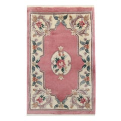 Traditional Chinese Area Rug, Pink Wool Carpet Rug Small Handwoven
