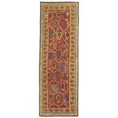Traditional Colorful Early 20th Century Antique Karabagh Caucasian Runner
