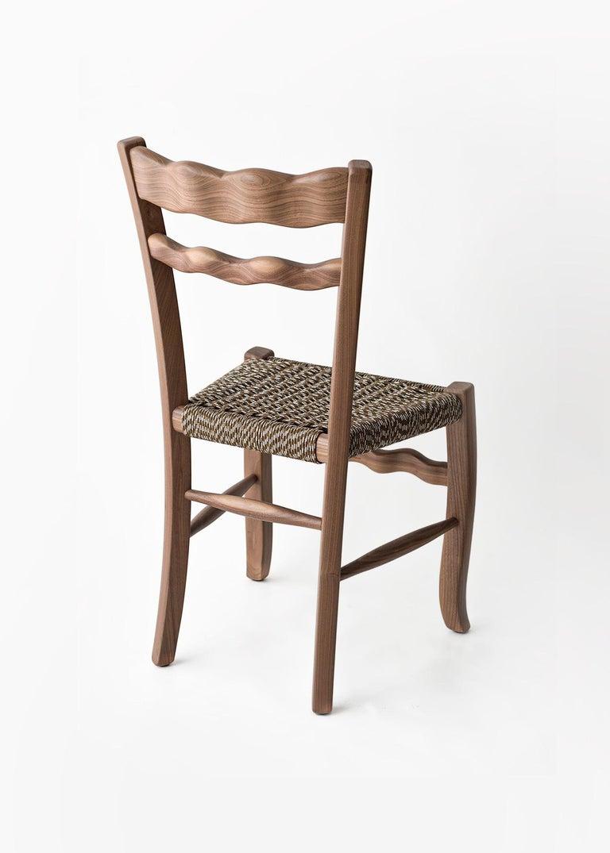 Mid-Century Modern Traditional Countryside Italian Walnut Wood Chair